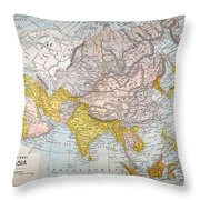 Asia Map Late 19th Century Throw Pillow
