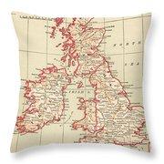 Map: British Isles, C1890 Throw Pillow