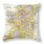 Map: Ireland, C1890 Throw Pillow