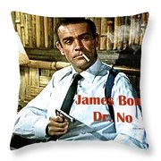 007, James Bond, Sean Connery, Dr No Throw Pillow