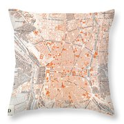 Spain: Madrid Map, C1920 Throw Pillow