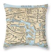 World Map 2nd Century Throw Pillow