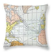 Map: Atlantic Voyages Throw Pillow