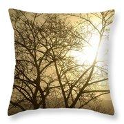 01 Foggy Sunday Sunrise Throw Pillow