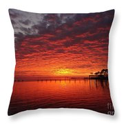 0205 Awesome Sunset Colors On Santa Rosa Sound Throw Pillow