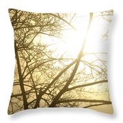 03 Foggy Sunday Sunrise Throw Pillow