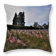 04 Flags For Fallen Soldiers Of Sep 11 Throw Pillow