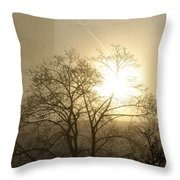 04 Foggy Sunday Sunrise Throw Pillow