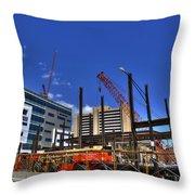 05 Medical Building Construction On Main Street Throw Pillow