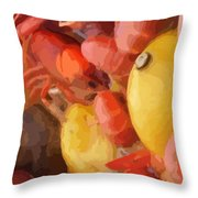 06232015 Mushroom Mud Bugs Lemons Throw Pillow