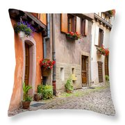 Half-timbered House Of Eguisheim, Alsace, France Throw Pillow