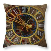 082 Tiffany Clock Throw Pillow