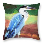 08282016 Female Blue Heron Throw Pillow