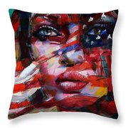 089 Flag And Eyes Throw Pillow