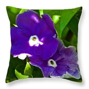 Purple Flowers In Pilgrim Place In Claremont-california Throw Pillow