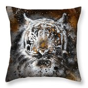 Tiger Collage On Color Abstract  Background  Rust Structure Wildlife Animals Throw Pillow