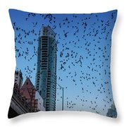 1.5 Million Mexican Free-tail Bats Overtake The Austin Skyline As They Exit The Congress Avenue Bridge Throw Pillow