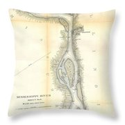 1865 Uscs Map Of The Mississippi River 78 To 98 Miles Above Cairo Illinois Throw Pillow