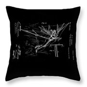 1872 Flying Apparatus Patent Drawing Throw Pillow