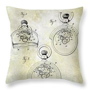 1893 Pocket Watch Patent Throw Pillow