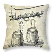 1900 Beer Keg System Patent Throw Pillow by Jon Neidert