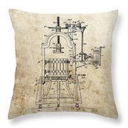 1903 Wine Press Patent Throw Pillow