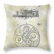 1908 Pocket Watch Patent  Throw Pillow