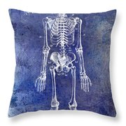 1911 Anatomical Skeleton Patent Blue Throw Pillow
