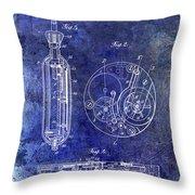 1913 Pocket Watch Patent Blue Throw Pillow