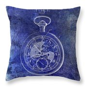1916 Pocket Watch Patent Blueprint Throw Pillow