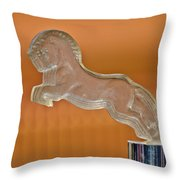 1925 Citroen Cloverleaf Hood Ornament 2 Throw Pillow