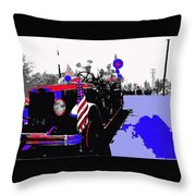 1930 American Lafrance Fire Truck Pro-viet Nam War March Tucson Arizona 1970 Color Added Throw Pillow