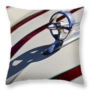 1949 Custom Buick Hood Ornament Throw Pillow