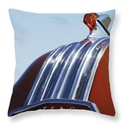 1952 Pontiac Tin Woodie Wagon Hood Ornament Throw Pillow