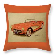 1957 Corvette Throw Pillow