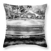 1959 Lincoln Continental Town Car Mk Iv Painted Bw Throw Pillow