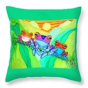 3 Little Frogs Throw Pillow