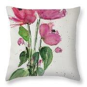 3 Pink Flowers Throw Pillow