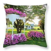 A Bed Of Flowers Throw Pillow