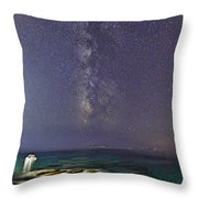 A Boat Under The Milky Way In Andros - Greece Throw Pillow