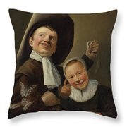 A Boy And A Girl With A Cat And An Eel Throw Pillow