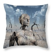 A Broken Down Petrified Android Robot Throw Pillow