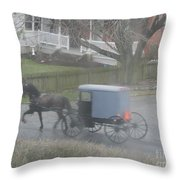 A Buggy Passes By Throw Pillow
