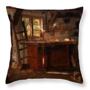 A Carpenter's Workshop Throw Pillow