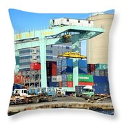 A Container Is Loaded In Kaohsiung Port Throw Pillow