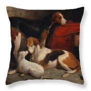 A Couple Of Foxhounds With A Terrier - The Property Of Lord Henry Bentinck  Throw Pillow