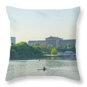 A Day On The River - Philadelphia Throw Pillow