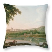 A Distant View Of Rome Across The Tiber Throw Pillow