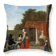 A Dutch Courtyard Throw Pillow