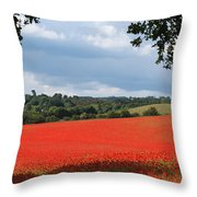 A Field Of Red Poppies Throw Pillow